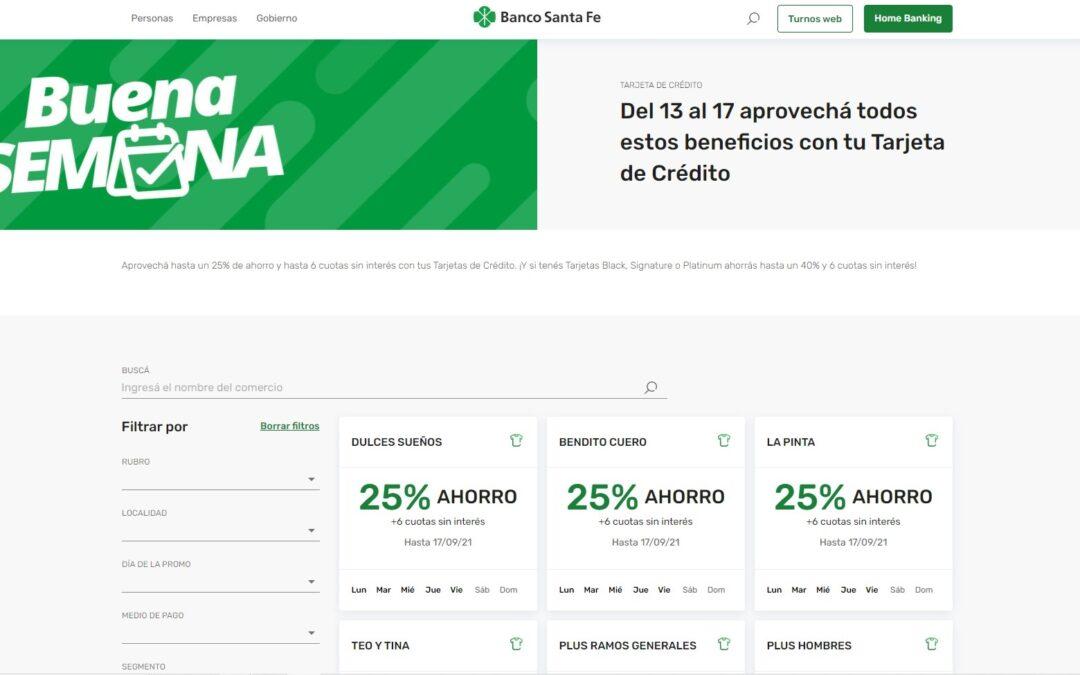 Banco de Santa Fe ofrece beneficios en su 'Buena Semana' con sus tarjetas de créditos